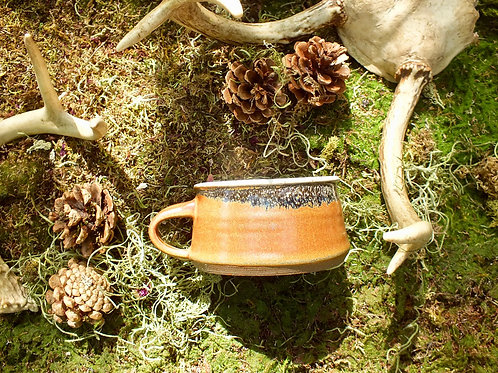 amber mottled shaving mug