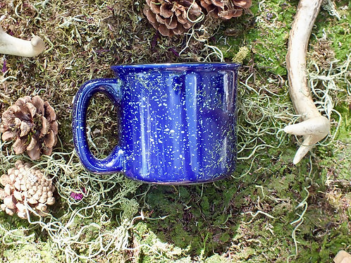 blue mottled shaving mug