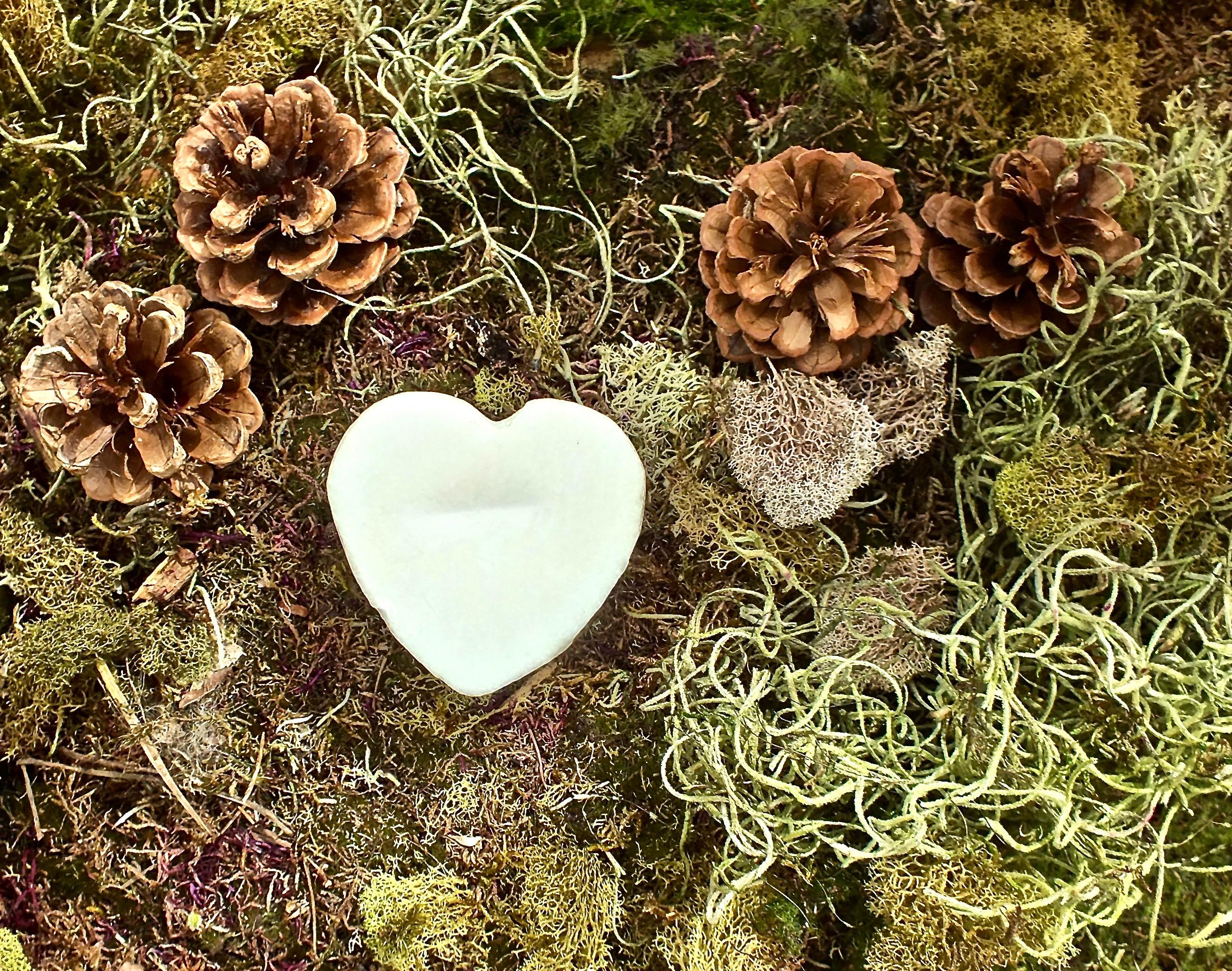 quartz embedded heart soconut soap