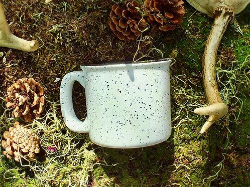 white mottled shaving mug