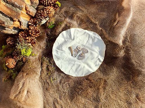 Hart Oracul divination set three, made with deer antler + held in deer hide