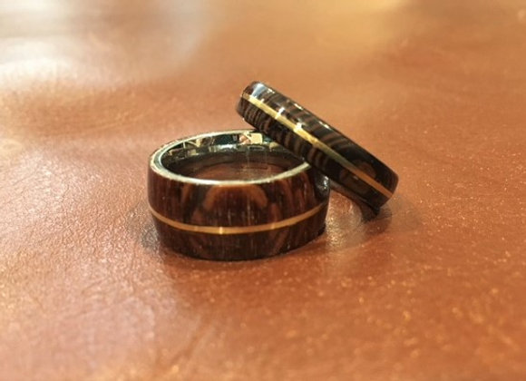 Wood Rings with Copper Inserts