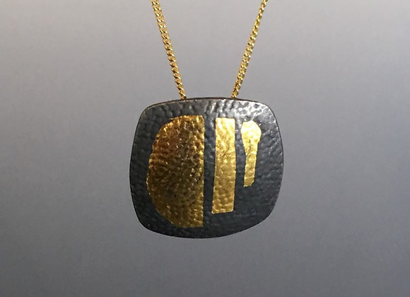 Gold on Oxidized Silver Pendant