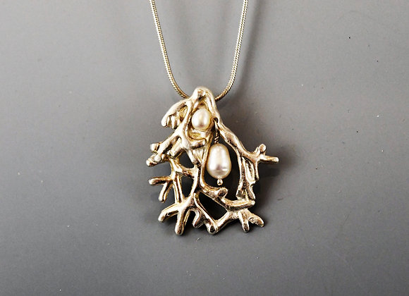 Silver Coral Pendant with Freshwater Pearls
