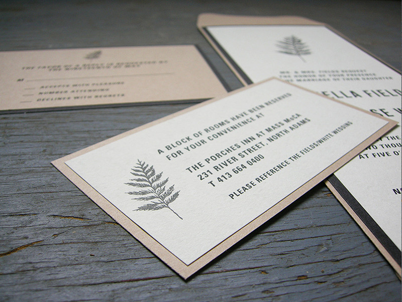Kraft fern invitation set. All invitations are custom. Please inquire for details.