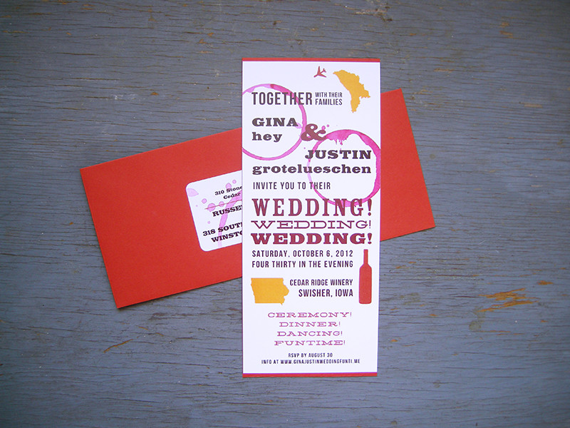 Destination vineyard invitation set. All invitations are custom. Please inquire for details.