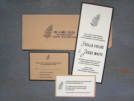 Kraft fern invitation set.All invitations are custom. Please inquire for details.