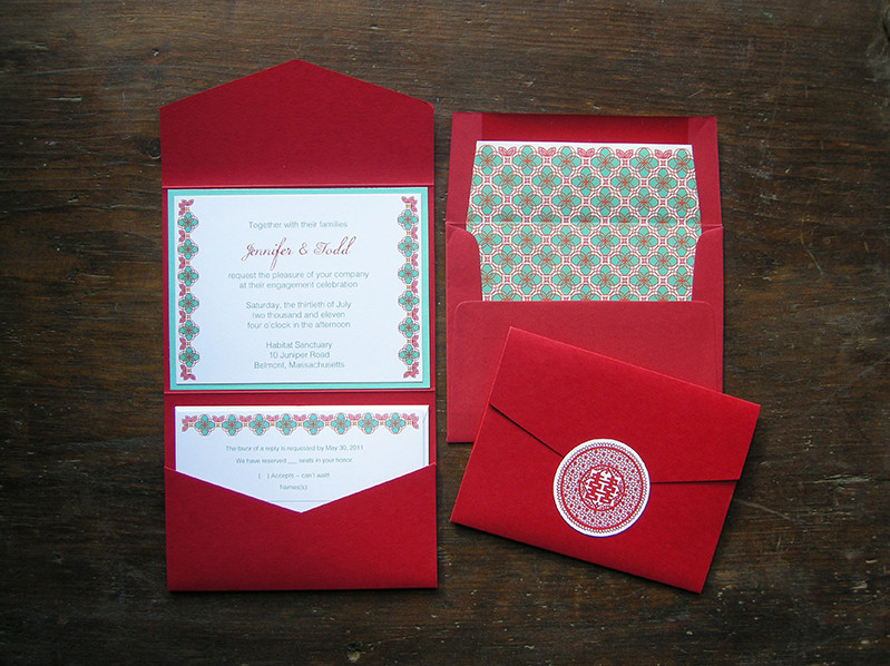 Red & aqua pocket invitation set. All invitations are custom. Please inquire for details.