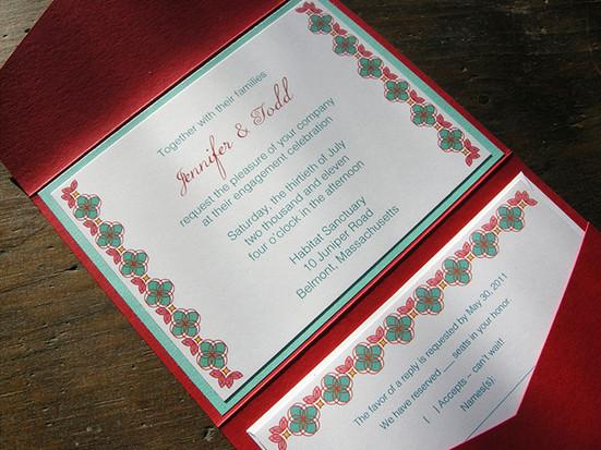 Red & aqua pocket invitation set.All invitations are custom. Please inquire for details.