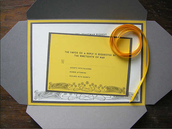 Curry & grey nouveau invitation set. All invitations are custom. Please inquire for details.
