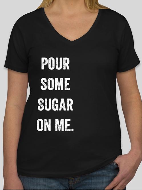 Ladies Pour Sugar Black V-Neck Soft T