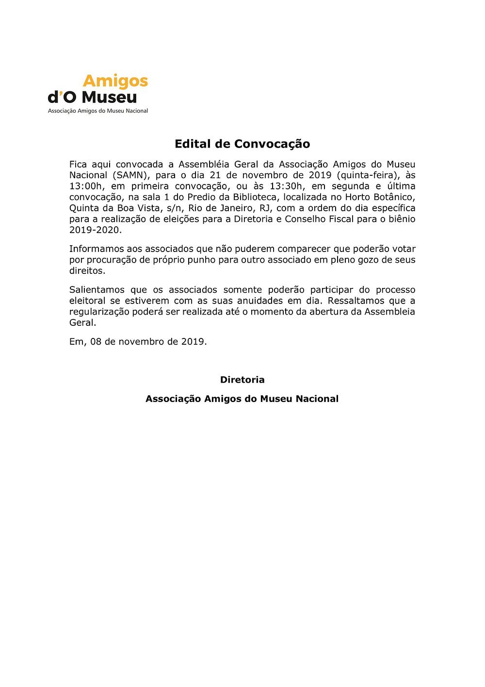 Documento oficial de convocação da Assembleia Geral Ordinária