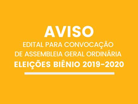 Edital para convocação de Assembleia Geral Ordinária-Eleições biênio 2019-2020