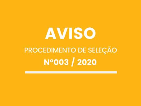 PROCEDIMENTO DE SELEÇÃO Nº003/SAMN/2020