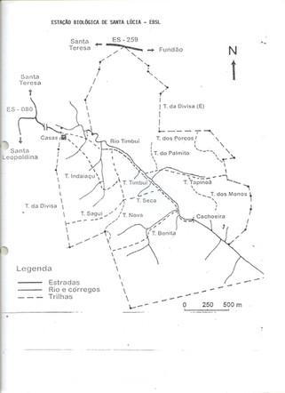 Mapa das trilhas na EBSL