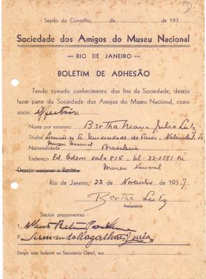 Boletim de adesão Bertha Lutz