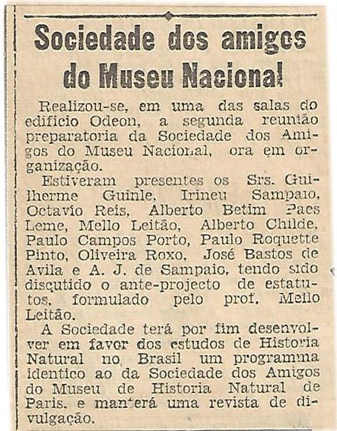 Nota de Jornal 'O GLOBO'  de 26-07-1937