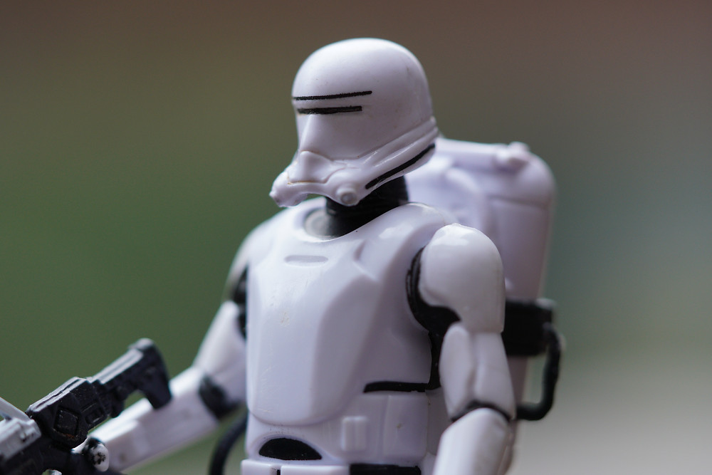 stormtrooper Star Wars close up with Sony 90mm
