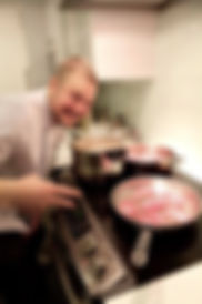 Roast duck, surprise birthday party, having fun in the kitchen, smile for the camera, duck a l'orange