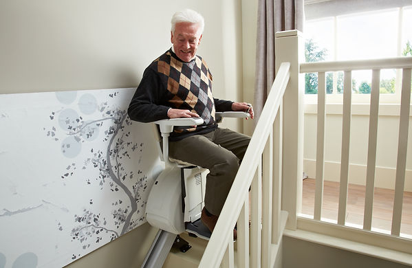Customer on a stairlift