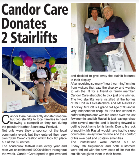 Candor Care donates 2 stairlifts