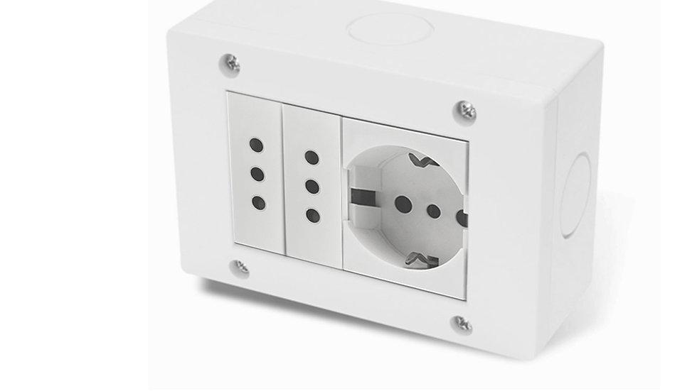 Caja Exterior IP40, Toma Schuko y  2 Toma 3 espigas redondas