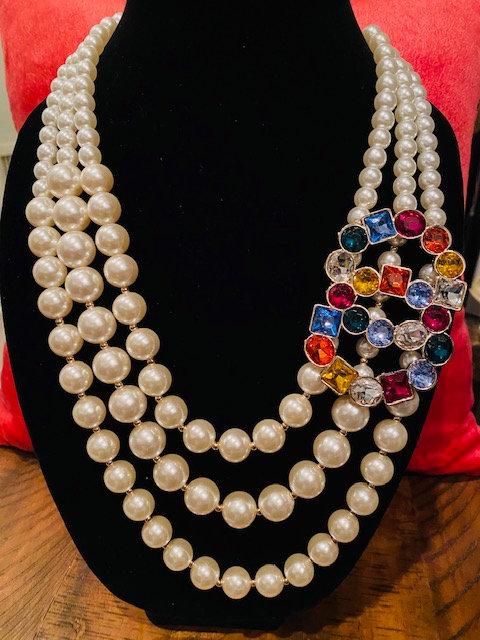 Necklace Only - Pearl Rhinestone Dasha