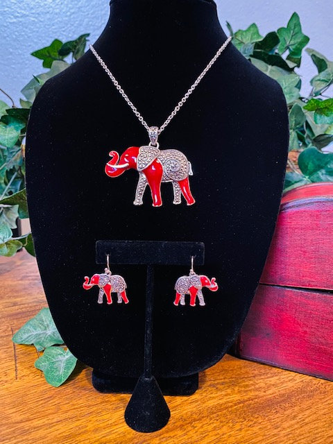 Trunk Up Elephant Rhinestone w/Earrings