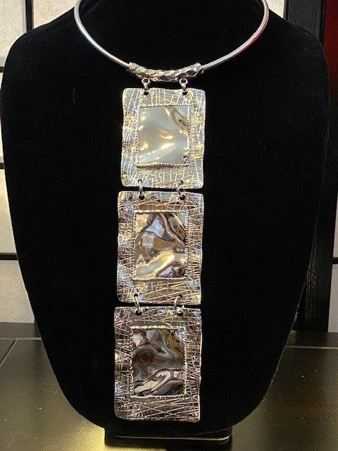 Silver Tie Necklace & Earrings