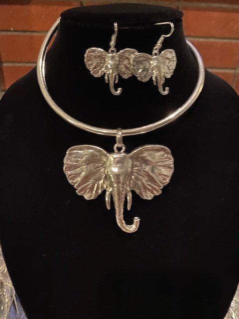 Trunk Up Elephant Babar Necklace, Earrings & Bracelet