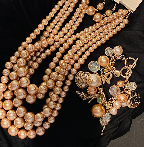 5-Strand Pearls, Earrings and Bauble Bracelet