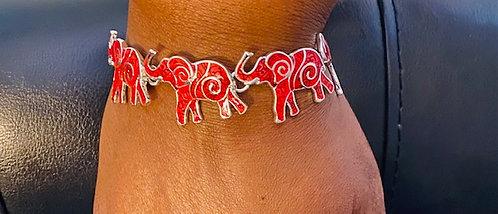 Trunk Up Elephant Crimson Bracelet - We Are Family