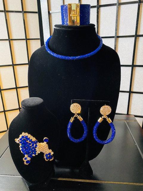 Natalia Choker Set - Bracelet, Rhinestone Earrings, Poodle
