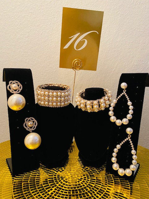 REVEALED - MYSTERY BAG #16  Gold Only - Pearl Rhinestone Bracelet and Earrings