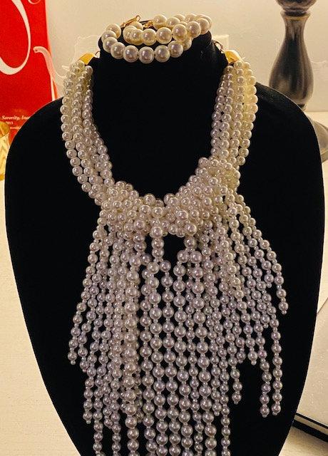 Twisted Pearl Necklace, Earrings & Bracelet
