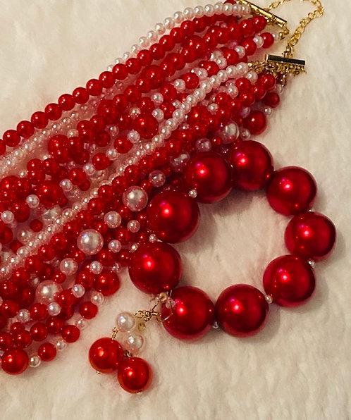 Jazzy Crimson Pearls, Earrings & Bracelet