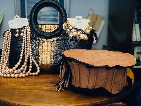 Golden Show Stopper (Leather Hat, Purse, Necklace, Bracelet)