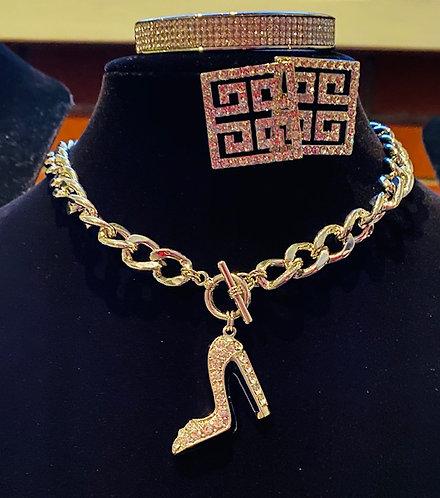 Stiletto Rhinestone Necklace, Earrings & Bracelet