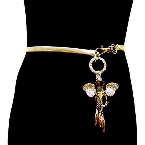 Trunks-up Black Jeweled Gold Belt