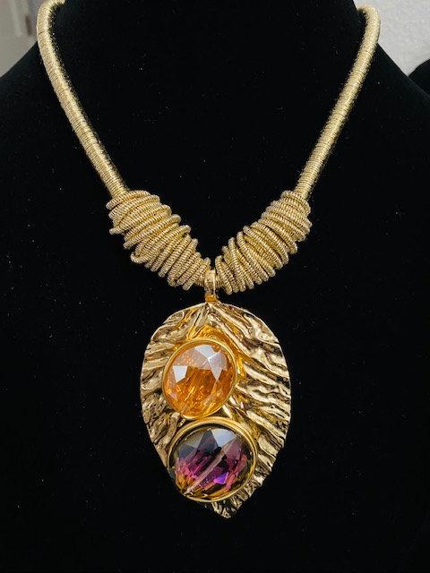 Sunburst Golden Leaf Jewel w/Earrings