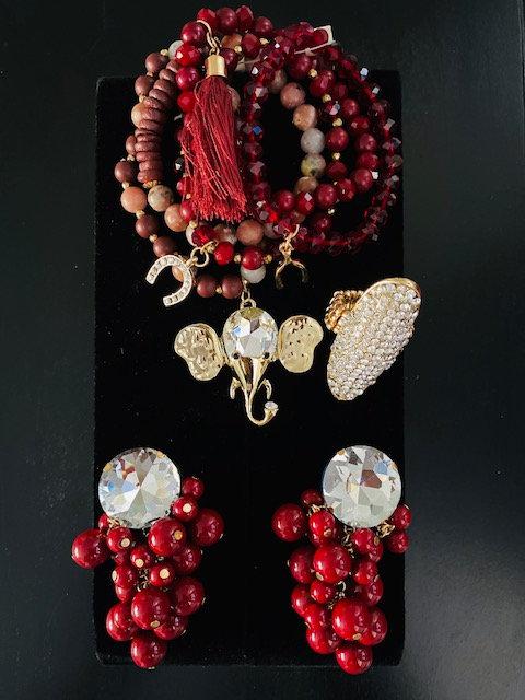 Elephant Charm Bracelet, Earrings w/Ring