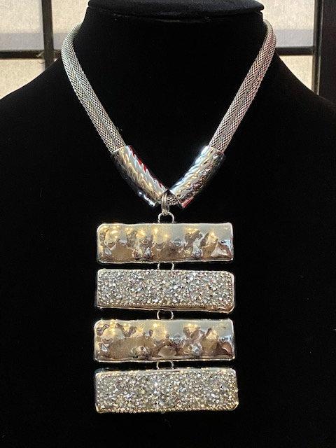 Silver & Rhinestone Bar Necklace & Earrings