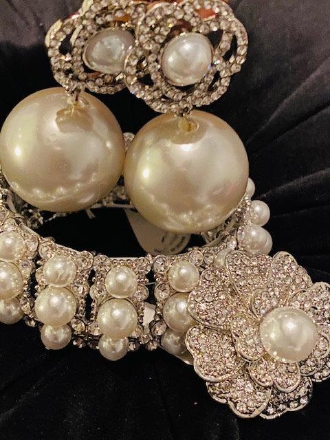 Classic Pearl Earrings, Bangle & Ring