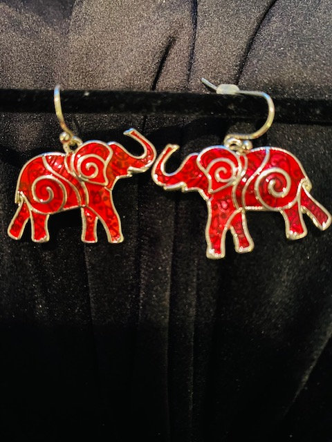 Trunk Up Elephant Crimson Earrings