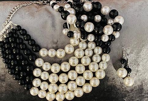Pearl Black/White Necklace, Bracelet & Earrings