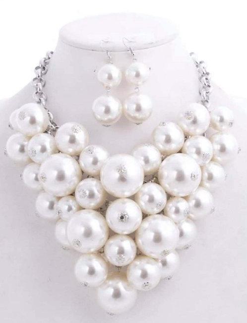 Popcorn Pearl Necklace Bracelet & Earrings