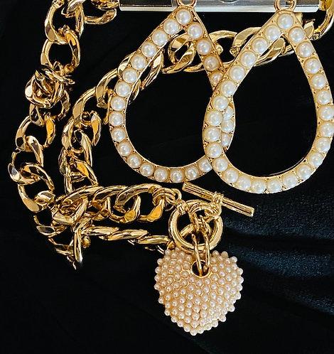 Golden Pearl Heart Necklace w/HoopEarrings