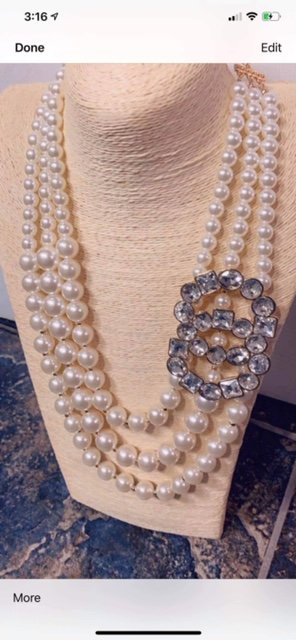 Tasha Pearl w/Rhinestone & Earrings & Bracelet