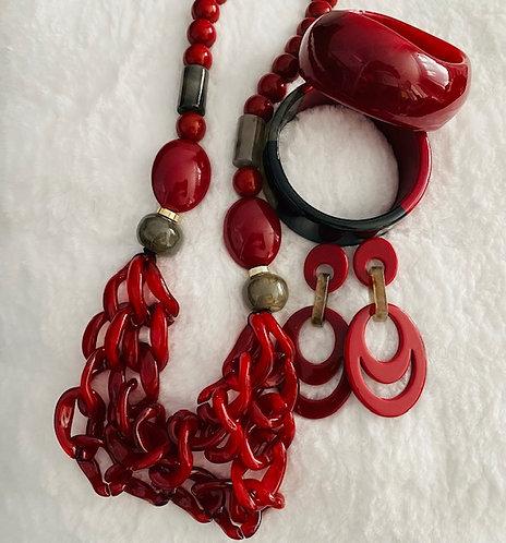 Crimson Necklace, Bangles w/Earrings