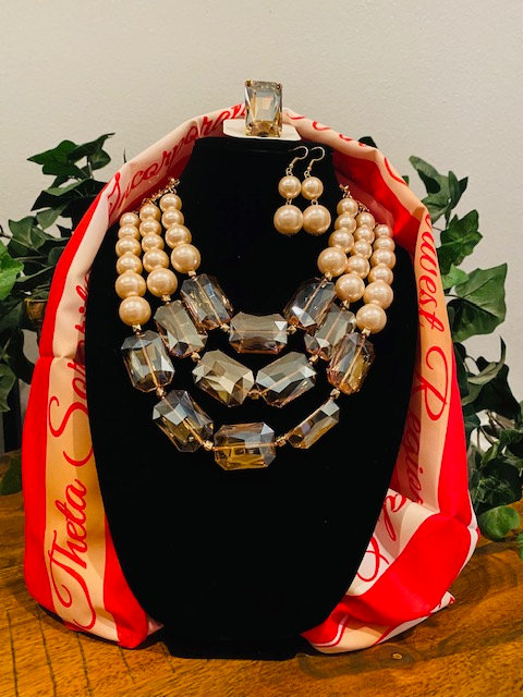 DIVA Jeweled Black & Pearl Necklace, Earrings